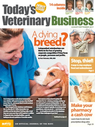 Today's Veterinary Business includes articles written by copywriter Pam Foster